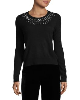 Petite Embellished Roundneck Sweater