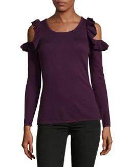 Petite Ruffle Cold-shoulder Sweater