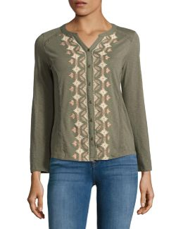 Petite Button Front Embroidered Top
