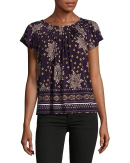 Petite Floral Print Pleated Top