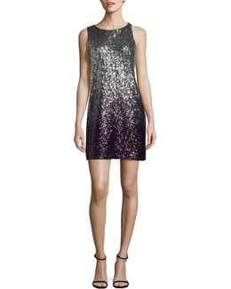Ombre Sequined Sheath Dress