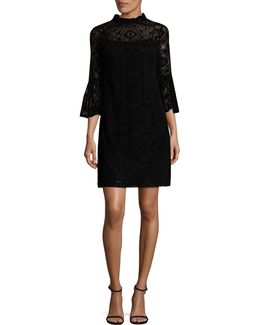 Flocked Lace Dress