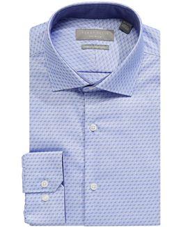 Slim Fit Tonal Dot Dress Shirt