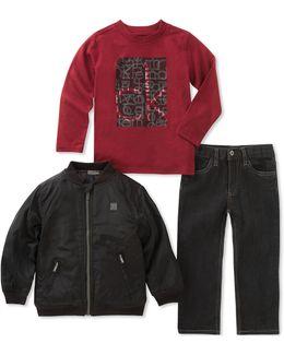 Three-piece Zip-up Jacket, Long-sleeve Tee And Denim Set