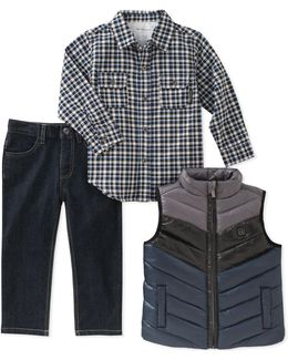 Three-piece Quilted Vest, Shirt And Denim Set