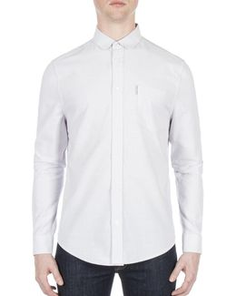 Micro Stripe Cotton Casual Sport Shirt
