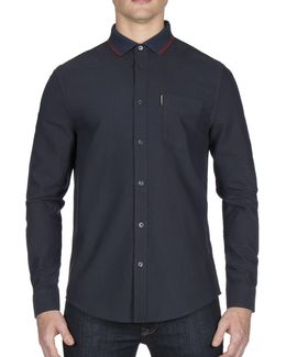 Knitted-collar Cotton Sport Shirt