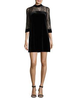 Three-quarter Sleeve Velvet Dress