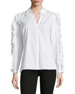 Ruffle Button-down Shirt