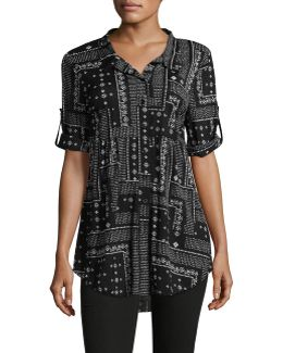 Fit-and-flare Printed Mesh Shirt