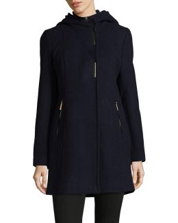 Hooded Textured Gilet Coat
