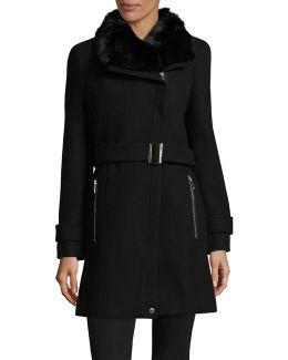 Buckled Cuff Faux Fur Trim Coat