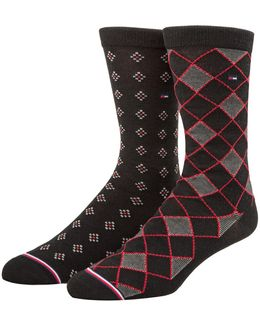 Two-pack Patterned Crew Sock Set