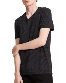 Pinstripe V-neck Cotton T-shirt