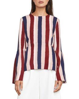 Jeanne Stripe Bell Sleeve Blouse