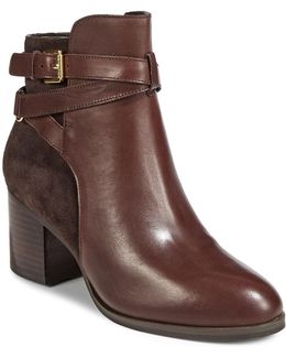 Strappy Heeled Leather Boots