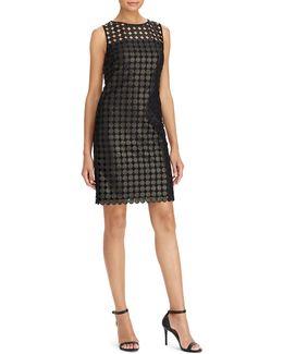 Metallic Geometric Lace Sheath Dress