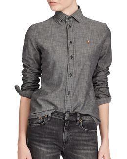 Slim-fit Chambray Cotton Button-down Shirt