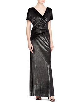 Metallic Velvet Floor-length Gown