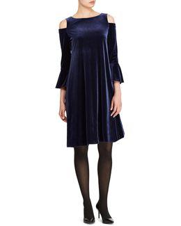 Velvet Cut-out Shoulder Dress