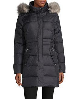 Faux Fur Trimmed Hood Down Puffer Jacket