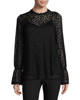 Plus Bell Sleeve Lace Blouse