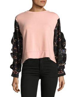 Floral Sleeve Crop Top