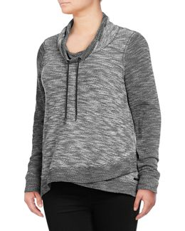 Plus Crossover Cowl Neck Pullover