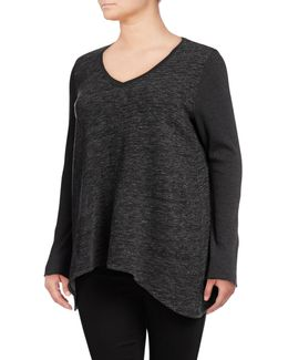 Plus Shadow Curved Hem Pullover