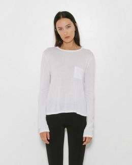 Classic Cropped Long Sleeve Tee W/ Chest Pocket