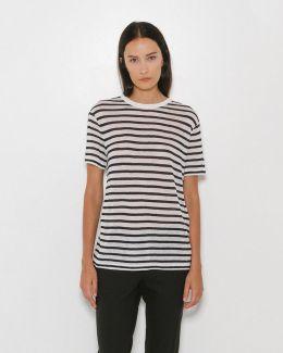Rayon Linen Stripe Short Sleeve