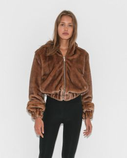 Hooded Faux Mink Bomber