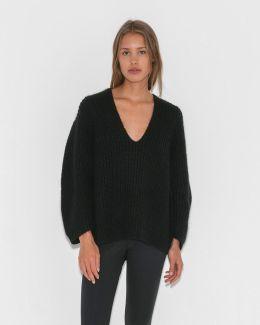 Chunky Mohair V-neck Sweater