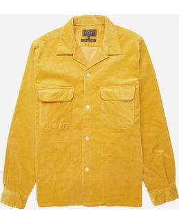 Open Collar Stretch Corduroy Shirt
