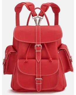 Red Hot Medium Leather Rucksack