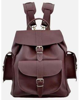 Wine Medium Leather Backpack