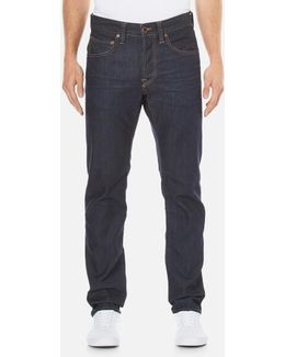 Men's Ed55 Relaxed Tapered Glazed Used Wash Denim Jeans