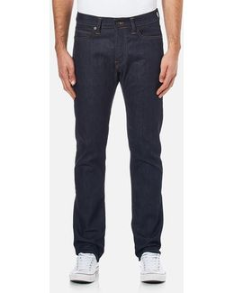 Men's Ed75 Mid Rise Tapered Unwashed Denim Jeans