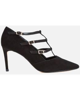 Carbon T Bar Suede Court Shoes