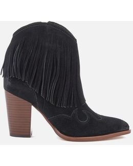 Benjie Leather Tassle Heeled Ankle Boots