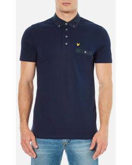 Short Sleeve Check Woven Collar Polo Shirt