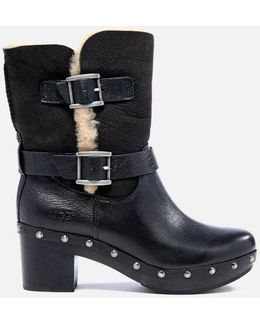 Brea Clog Suede Buckle Boots