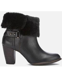 Jayne Suede Sheepskin Heeled Boots