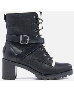 Ingrid Leather Sheepskin Lace Up Heeled Boots