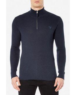 Cotton Texture Half Zip Knitted Jumper