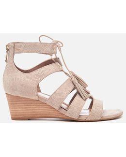 Yasmin Snake Tassle Leather Wedged Sandals