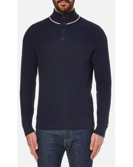 Structure Mock Neck Knitted Jumper