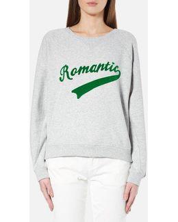Women's Crew Neck Sweatshirt With Varsity Inspired Graphics
