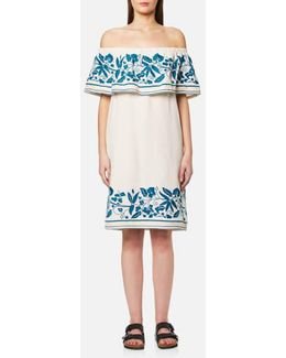 Women's Boho Off The Shoulder Dress With Embroidery