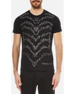 Slim Fit Studded Wave Pattern T-shirt
